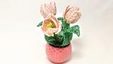 Мастер Класс Миниатюрные тюльпаны из бисера Бисероплетение Beaded tulips tutorial
