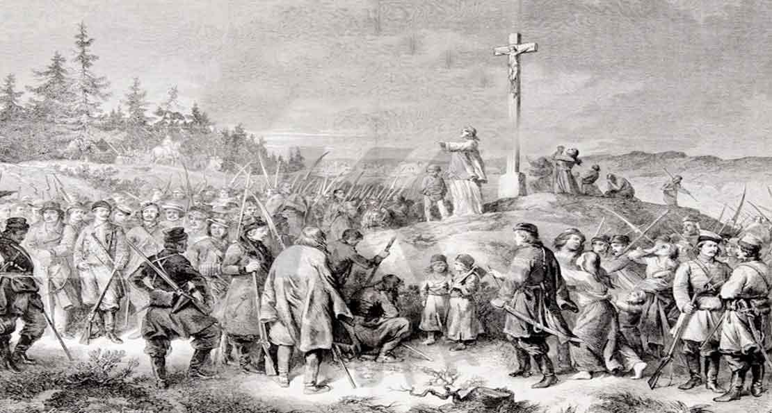 Проповедь православного священника перед выступлением повстанцев в бой