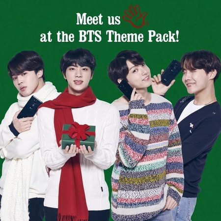 """LG Mobile Global on Instagram: """"What's the theme for this holiday? Sweet BTS! Download the BTSTHEMEPACK now! LGXBTS *BTS THEME PACK is only avail..."""