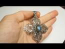 лабрадор синий, посеребрение, крест P8160013
