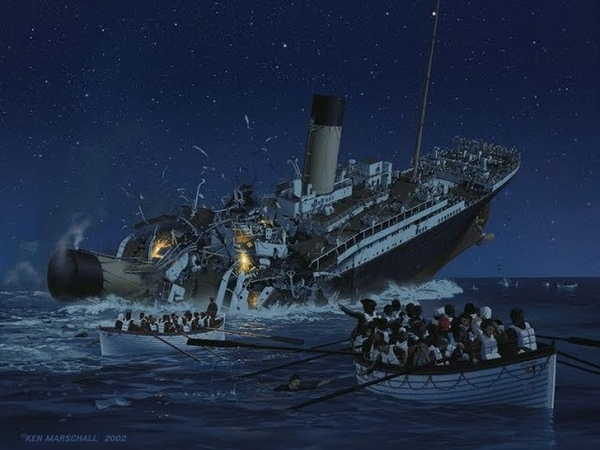 Inside the titanic sinking titanic - 3 different simulations