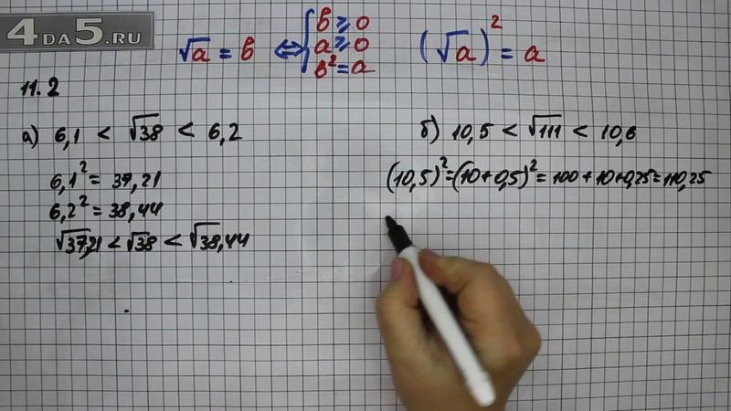 Упражнение 11.2. Вариант А. Б. Алгебра 8 класс Мордкович А.Г.
