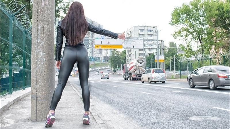 Girl walk leather latex leggings leggings fetish athlete