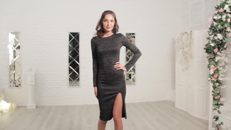 Платье из ткани трикотаж сандра с люрексом.