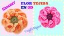 TUTORIAL: FLOR TEJIDA EN 3D PASO A PASO   Crochet como hacer una flor tejida en 3D paso a paso