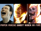 Burning Paper Mache Ghost Rider Nicolas Cage Sculpture Timelapse