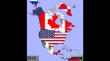 North America Timeline of National Flags 1600 - 2018