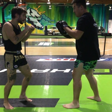 "Dylan Sprayberry on Instagram: ""Last week with the doctor @drjasonpark drilling some elbows at @musclepharm @satrawoot @yokkao"""