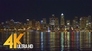 4K UHD Seattle at Night - Urban Relax Video, View from Alki Beach Trail - 3 Hours