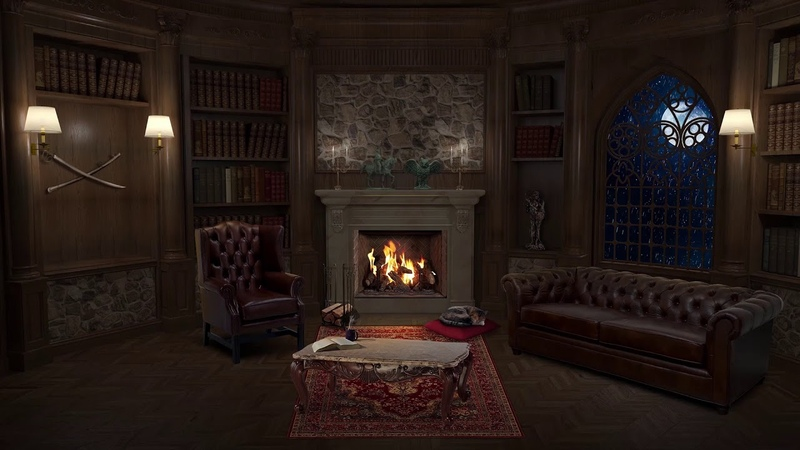 Library at Night - Fireplace Sound, Rain, Cat Purr, Study, Relax, ASMR