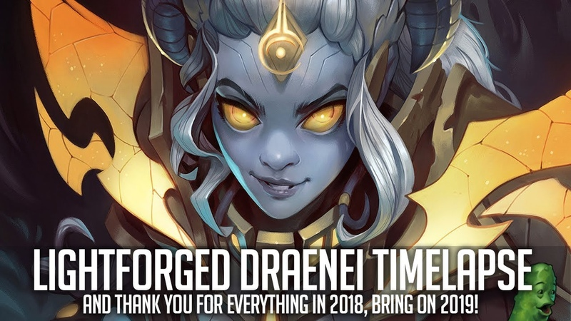 Lightforged Daenei Digital Painting - Thank you for an amazing 2018!