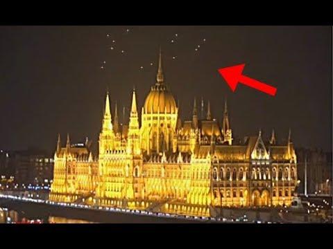 MULTIPLES ORBES LUMINOSOS RODEAN LA CATEDRAL DE BUDAPEST,HUNGRIA!!