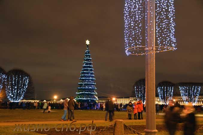 Новогодняя елочка на Стрелке Васильевсткого острова, 2018