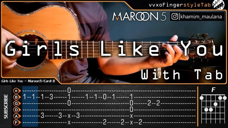 Maroon 5 - Girls Like You ft. Cardi B - Cover (Fingerstyle Guitar) With Tab Tutorial | Chord