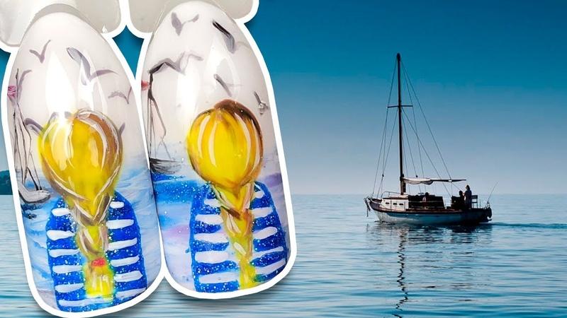 🌊 Девушка на Берегу Моря 🌊 Романтичный Дизайн Гель лаком к Маникюру в Отпуск Летний Пейзаж Ногти
