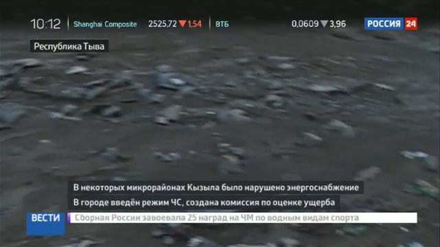 Новости на Россия 24 • Наводнение принесло в Кызыл мусор с городских свалок