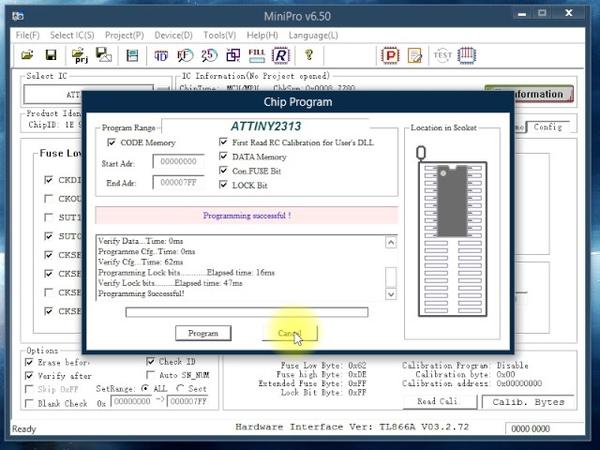 Восстановление Фьюзов ( Fuses ) с помощью программатора MiniPro TL866.