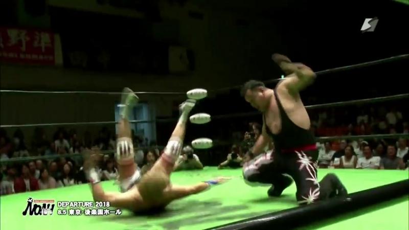 Hi69, Minoru Tanaka, Ricky Marvin vs. Ikuto Hidaka, Takuya Sugawara, El Hijo del Pantera (NOAH - Departure 2018)