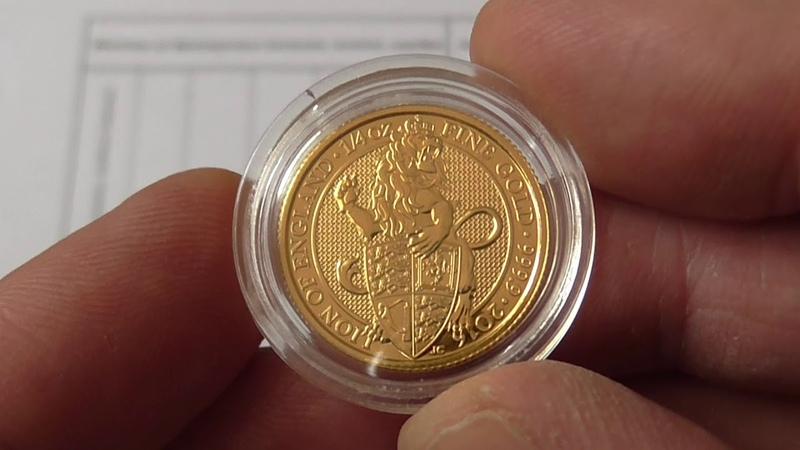 Золотая монетаЛевиз серииЧудовища или Звери королевы,25 фунтов стерлингов,вес 14унции, проба 999,9.