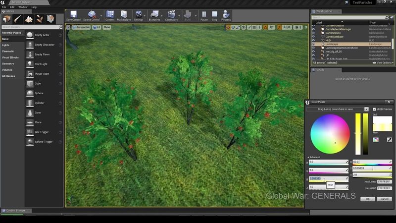 Develop Global War - Trees shader (work in progress) Demo select colour pick
