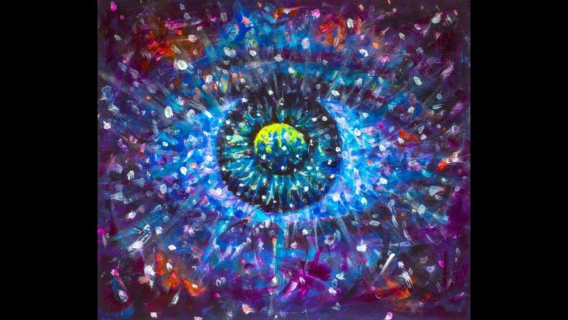 Как нарисовать космический всевидящий глаз акрилом художник Валерий Рыбаков