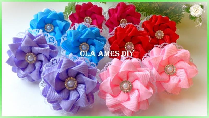 Канзаши Цветы из репсовых лент Kanzashi Flower DIY Grosgrain Ribbon Flower Flor de Fita Ola ameS DIY