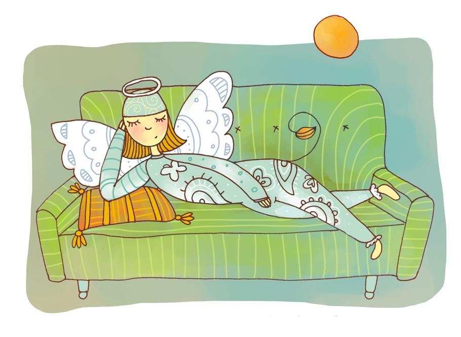 Рисунок смешной дивана, днем