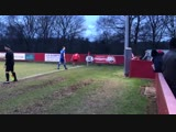 Dog invades pitch during Tunbridge Wells v Chatham yesterday, play was halted so that the players could chase it off...