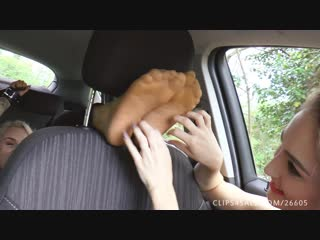 UKTickling - Rachelles Nails Torment Jades feet in the car