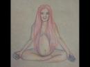 Слайд-шоу одного из вариантов скетча беременной девушки, сидящей в позе лотоса
