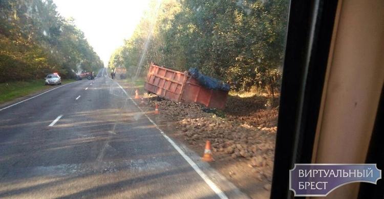 На дороге Р-85 расцепился МАЗ и прицеп с сахарной свеклой