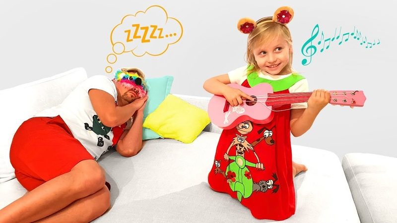 Alisa pretend play waking up Daddy with Musical Instruments Are you sleeping brother John song