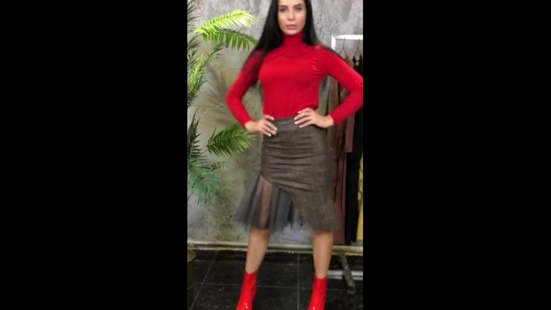 Клетчатая юбка с фатиновым подолом