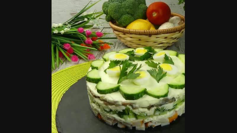 слоеный салат с копченной курицей