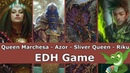 Queen Marchesa vs Azor vs Sliver Queen vs Riku EDH CMDR game play for Magic The Gathering