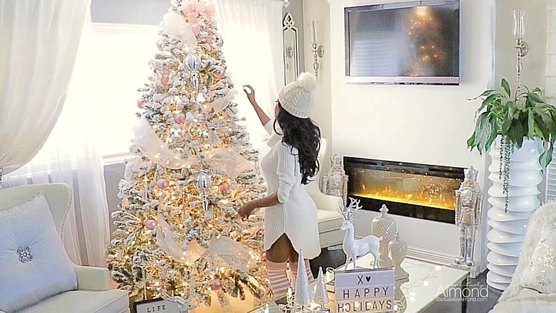 Blush pink white Christmas decorating ideas 2017, Decorate My Tree With Me Rose Gold