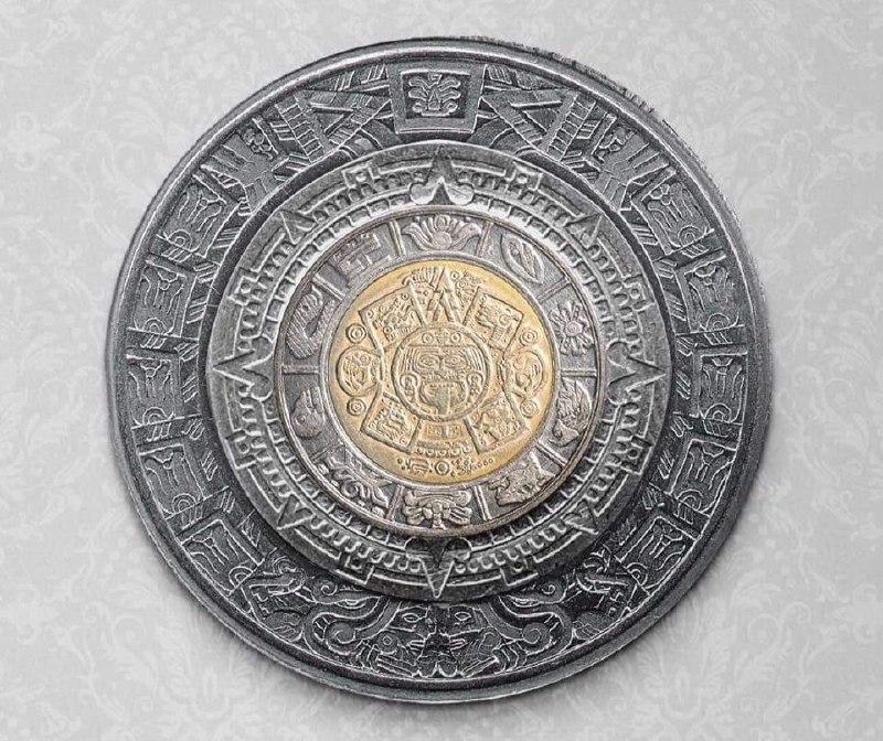 Если сложить монеты номиналом в 1, 2, 5 и 10 мексиканских песо, получится календарь Майя<br>#интересно