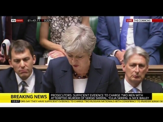 Theresa May says the men identified are members of Russia's military intelligence service (the GRU)