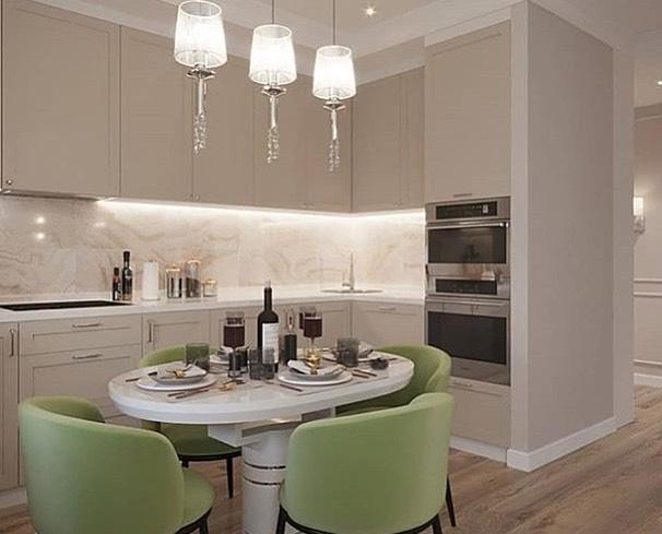 Кухня, гостиная и прихожая в одном стиле