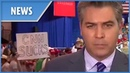 Trump supporters blast CNN's Jim Acosta live on air with chants of 'fake news'