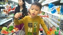 Baby Xavi Shopping at Grocery Store Supermarket for Surprise Eggs, Toys, Food and Something