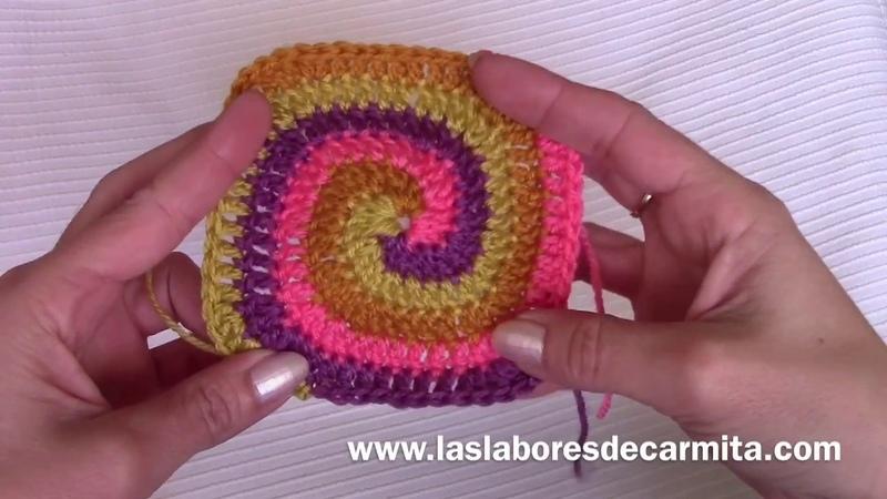Crochet tutorial cuadrado en espiral paso a paso
