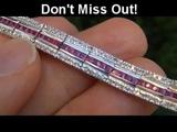 TOP GEM Quality 6.78 Carat Ruby &amp Diamond Tennis Bracelet Solid 18K Gold