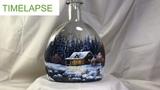 Winter Landscape Step by Step Vitrail Painting on Bottle - TIMELAPSE version