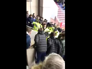 Bolton fans vs. Police away at Wigan yesterday.. BWFC WAFC