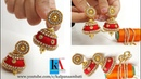 How to Make Designer Silk Thread Jhumkas at home Fancy Silk Thread Earrings with shiny kundans