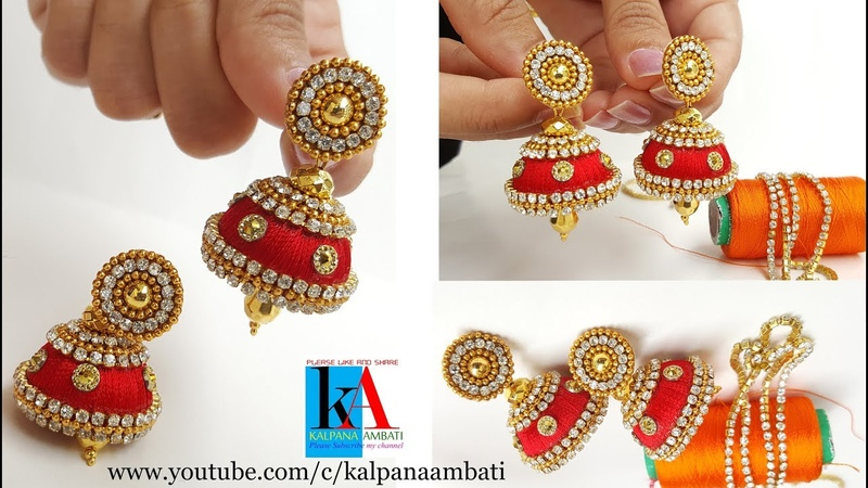 How to Make Designer Silk Thread Jhumkas at home || Fancy Silk Thread Earrings with shiny kundans
