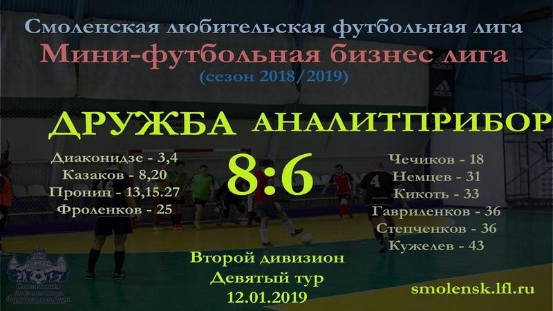 Мини-футбол 2018/19. ДРУЖБА - АНАЛИТПРИБОР 8:6 (обзор матча)