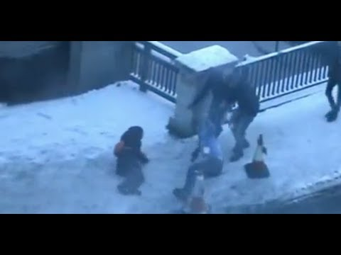 Icy Sidewalk Causes Slips and Spills
