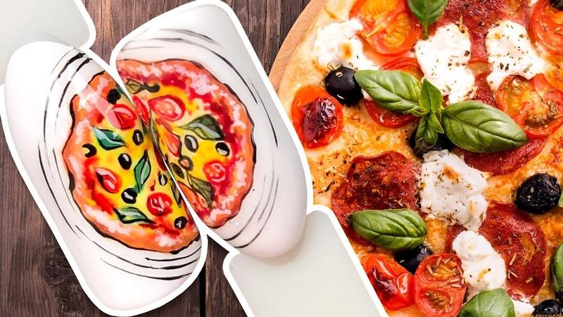 🍕 Вкусный Дизайн Ногтей с Пиццей 🍕 Рисунок Гель-лаком для Яркого Маникюра Пошаговый Мастер Класс